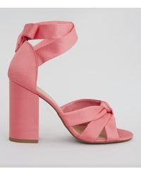 74117a08a79 New Look Coral Pink Satin Knot Front Block Heels in Pink - Lyst