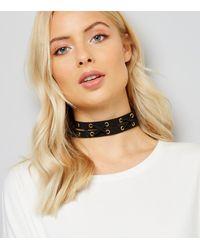 New Look | Black Suedette Lattice Choker | Lyst