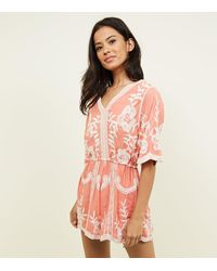 69599d9442 New Look Coral Crochet Embroidered Playsuit in Pink - Lyst
