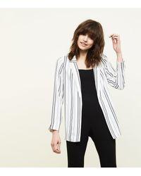 New Look - White Stripe Crepe Blazer - Lyst