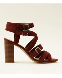 d48a6e165531 New Look Wide Fit Rust Suedette Strappy Heeled Sandals in Brown - Lyst