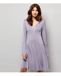 New Look - Purple Lilac Bell Sleeve Wrap Front Dress - Lyst