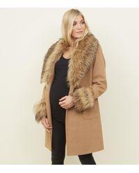 best quality half price exclusive shoes Women's Natural Maternity Camel Detachable Faux Fur Trim Coat