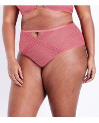 New Look - Curves Mid Pink Geometric Lace Brazilian Briefs - Lyst