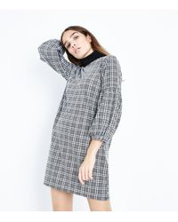 New Look - Gray Grey Prince Of Wales Check Balloon Sleeve Tunic Dress - Lyst