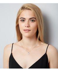 New Look - Metallic Silver Round Cubic Zirconia Pendant Necklace - Lyst