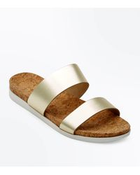 New Look Metallic Wide Fit Gold Leather Double Strap Sliders