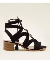 dcefbc628d8 New Look Black Suedette Ghillie Lace Up Heeled Sandals in Black - Lyst