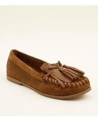 cbcb4f15c9d New Look Tan Suede Whipstitch Fringe Trim Loafers in Brown - Lyst