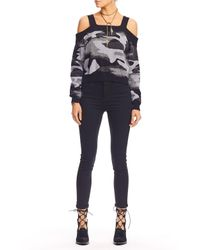 Nicole Miller - Black Camo Cold Shoulder Sweater - Lyst