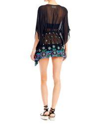 Nicole Miller - Black Aztec Embroidered Caftan - Lyst