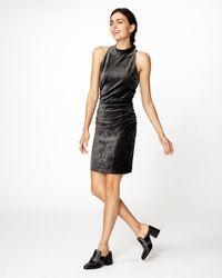 Nicole Miller | Gray Velvet Mock Neck Dress | Lyst