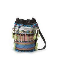 Nicole Miller - Multicolor Striped Fabric Bucket Bag - Lyst