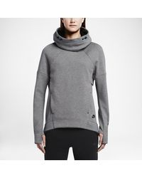 Nike | Gray Tech Fleece Pullover Women's Hoodie | Lyst