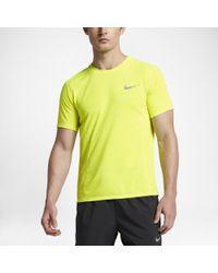Nike | Yellow Dry Miler Men's Short Sleeve Running Top for Men | Lyst