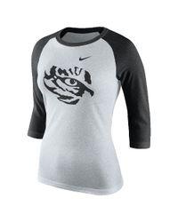 Nike | White College Tri Raglan (lsu) Women's 3/4 Sleeve T-shirt | Lyst