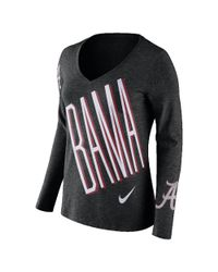 Nike - Black College Tri Mid V (alabama) Women's Long Sleeve T-shirt - Lyst