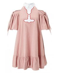 Vivetta - Red Pavone Pinstriped Ruffle Dress - Lyst