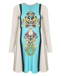 Mary Katrantzou | Blue Long Sleeve Print Dress With Flared Skirt | Lyst