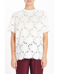 Lanvin - White Short-sleeved Lace Top - Lyst