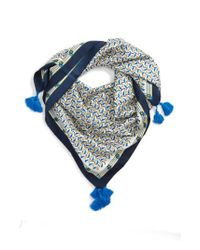 Tory Burch - Blue Stallion Silk Square Scarf With Tassels - Lyst