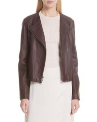 Vince - Purple Zip Cross Front Leather Jacket - Lyst