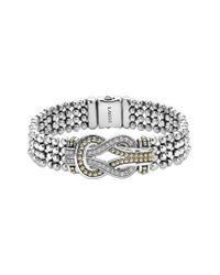 Lagos - Metallic 'newport' Diamond Knot Flat Caviar Bracelet - Lyst