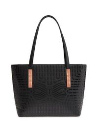 Ted Baker - Black Breanna Perforated Bow Leather Shopper - Lyst