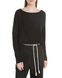 Vince - Black Cinched Back Cashmere Sweater - Lyst