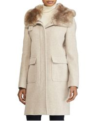 Lauren by Ralph Lauren - Natural Hooded Coat With Faux Fur - Lyst