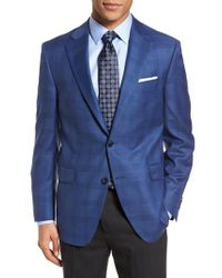 Peter Millar Blue Classic Fit Plaid Wool Sport Coat for men