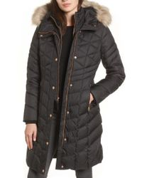 Andrew Marc - Black Meadow Down & Feather Fill Coat With Faux Fur Trim - Lyst