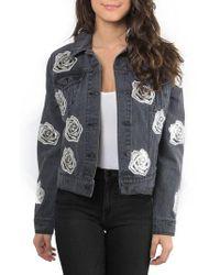 Bagatelle - Gray Rose Denim Jacket - Lyst