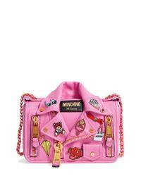 Moschino - Pink Biker Jacket Shoulder Bag - Lyst