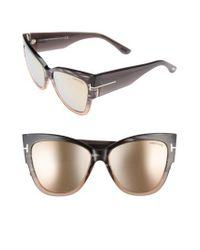 f3c6a08f9ab Lyst - Tom Ford Anoushka 57mm Gradient Cat Eye Sunglasses in Gray