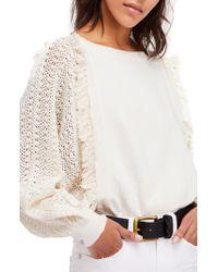Free People - White Faff Fringe Sweater - Lyst