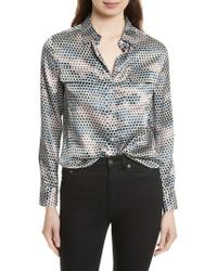 Equipment | Gray Slim Signature Print Silk Shirt | Lyst