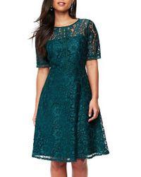 Wallis | Blue Lace & Lattice Fit & Flare Dress | Lyst