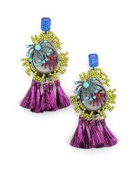 Elizabeth Cole - Multicolor Happy New Year Crystal & Tassel Drop Earrings - Lyst