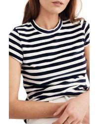 Madewell - Blue Stripe Velour Tee - Lyst