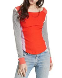 Free People - Red Fancy That Colorblock Tee - Lyst
