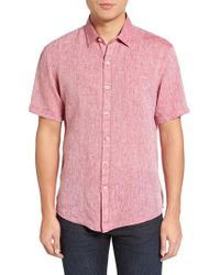 Zachary Prell - Red Kaplan Slim Fit Linen Sport Shirt for Men - Lyst