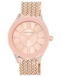 Anne Klein   Pink Mesh Strap Watch   Lyst