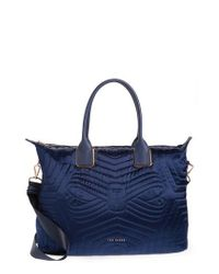 Ted Baker - Blue Quilted Bow Large Nylon Tote - - Lyst