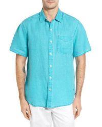 Tommy Bahama   Blue 'sea Glass Breezer' Original Fit Short Sleeve Linen Shirt for Men   Lyst
