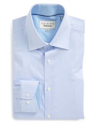 Ted Baker | Blue 'oncore' Trim Fit Micro Stripe Dress Shirt for Men | Lyst