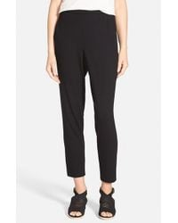 Eileen Fisher | Black Slouchy Slim Jersey Ankle Pants | Lyst