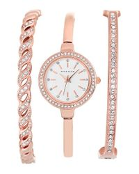 Anne Klein - Pink Crystal Bezel Watch & Bangle Set - Lyst