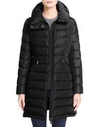 Moncler | Black 'flammette' Water Resistant Long Hooded Down Coat | Lyst