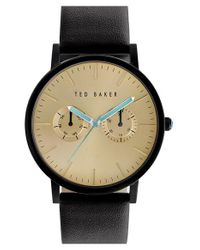 Ted Baker - Metallic Multifunction Leather Strap Watch for Men - Lyst